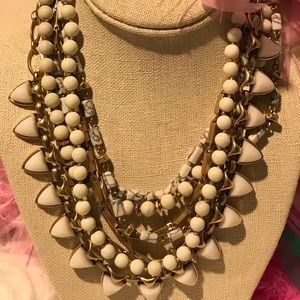 Stella & Dot 8 layered necklace howlite white gold